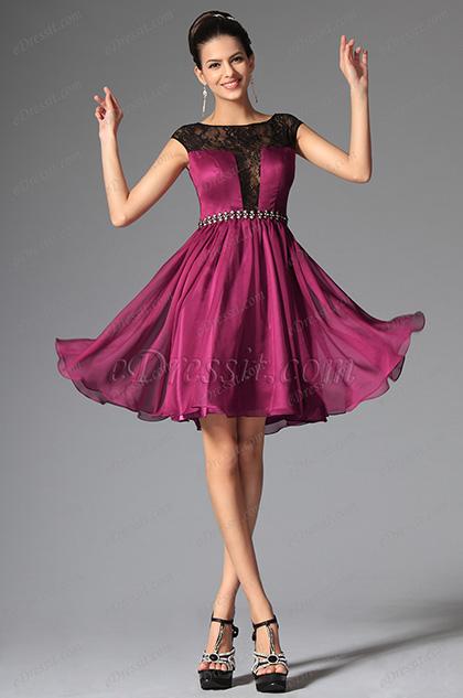 eDressit  2014 Новое Тёмно-красное Коктейльное Платье/Платье на Бал с Шапочными Рукавами(04145912)