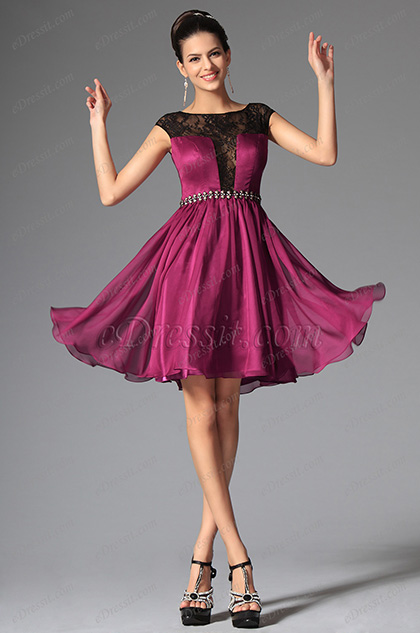 eDressit Dark Magenta Cap Sleeves Cocktails Dress Party Dress (04145912)