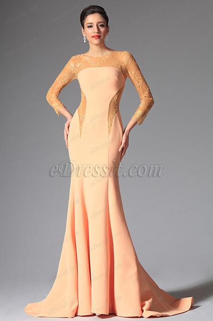 eDressit Orange Round Neckline Evening Dress (00148210)