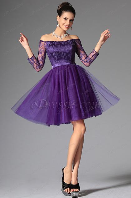 eDressit 2014 Nouveauté Violette Tulle Dentelle Robe de Cocktail/ Gala/ Bal(04145606)