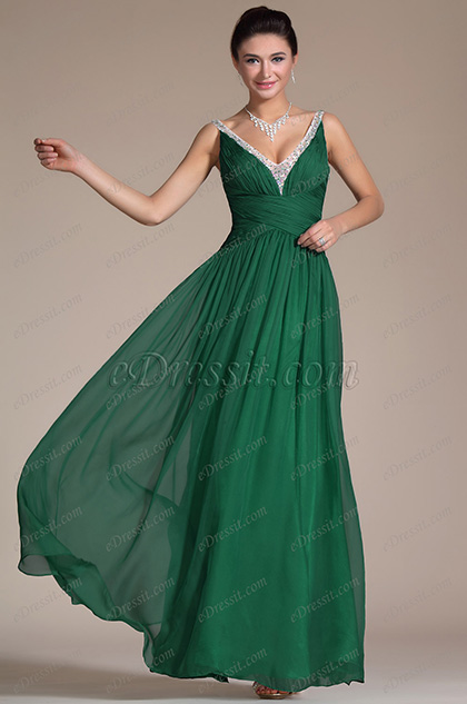 Turqoise Sexy V-neck Ruched Evening Dress/Bridesmaid Dress/Formal Gown (C36142255)