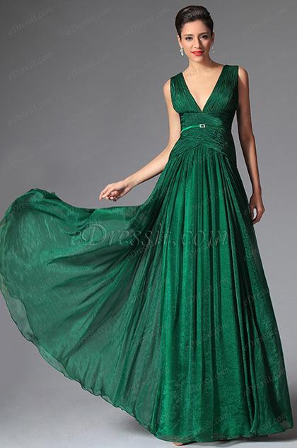 Edressit Dark Green Deep V Cut Long Evening Prom Gown