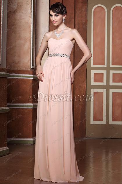Robe de soirée/demoiselle d'honenur rose plissée sans bretelle (C36144401)