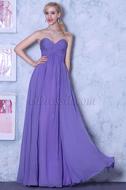 Empire Waistline Simple Strapless A-line Evening Dress Bridesmaid Dress (00105706)