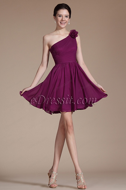 Gorgeous One shouder Flowers Cocktail Dress (C04141317) (C04141317)