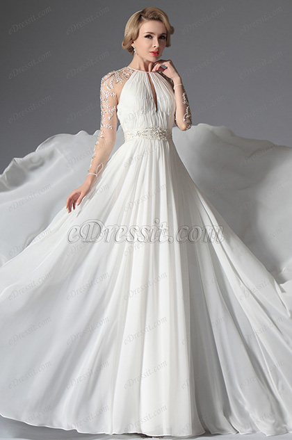 eDressit Romantic Sleeves Wedding Gown (01141507)