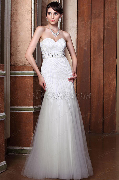 Delicate Strapless Shiny Beaded Sweetheart Mermaid Wedding Gown