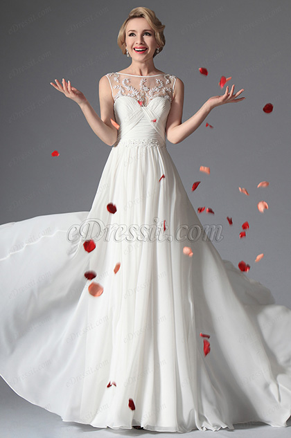 eDressit White Sleeveless Evening Dress Wedding Gown (01141707)