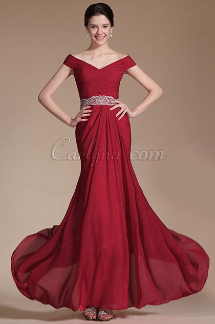 Red Off Shoulder Evening Gown (C00144102)