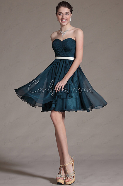 Sweetheart Strapless Pleated Cocktail Dress Bridesmaid Dress (C07140205)