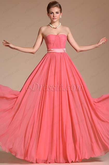 Simple Elegant Strapless Evening Dress Bridesmaid Dress (C00117357)