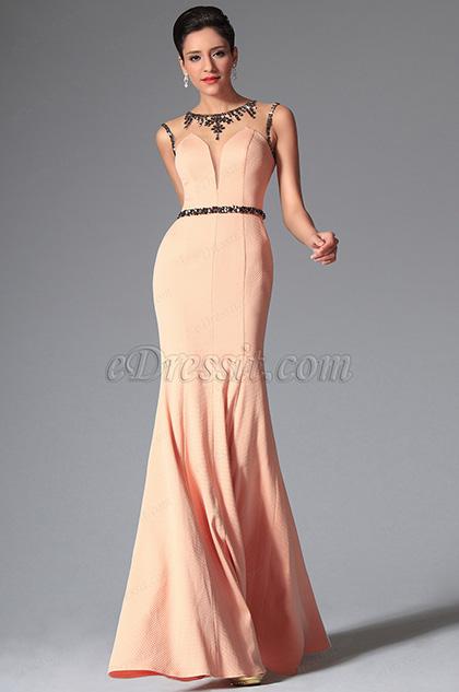 Vestido Formal de Noche Escote Redondo Sin Manga Tul Transparente en Arriba(00148810)