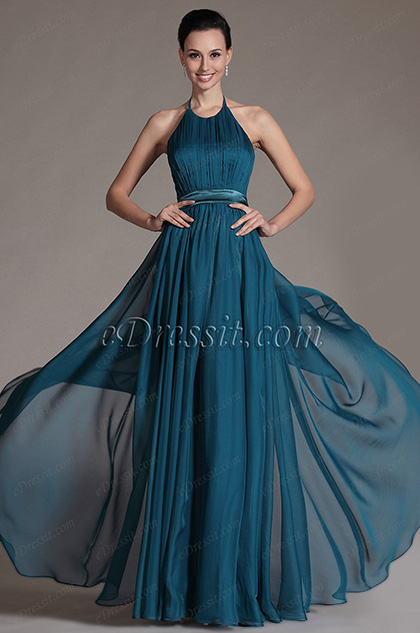 Halter Sexy Off Back Evening Dress (C00142005)
