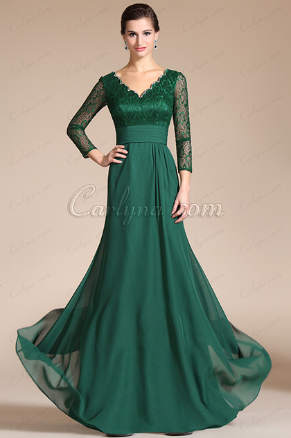 Green Lace Top & Sleeves Mother of the Bride Dress (C26140404)