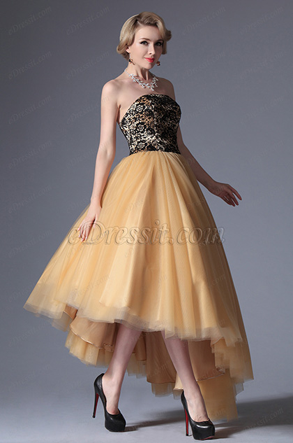 Clásico Vestido de Baile Amarrillo Negro Plano Escote Falda Asimétrica(04144714)