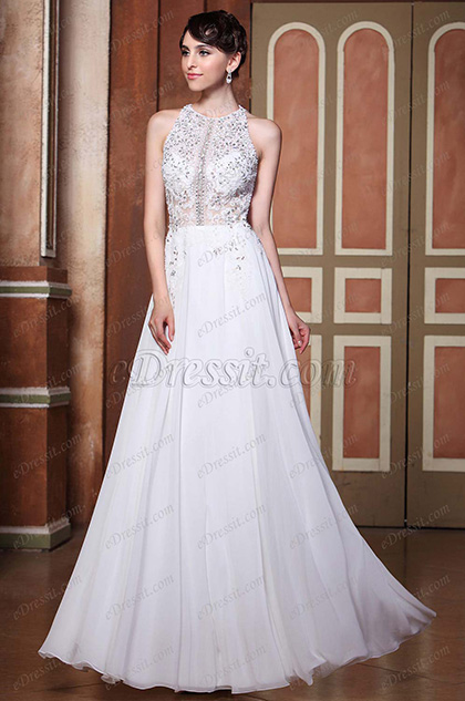 A-Line Halter Beaded Top Sexy Open Back Wedding Gown (C36144007)