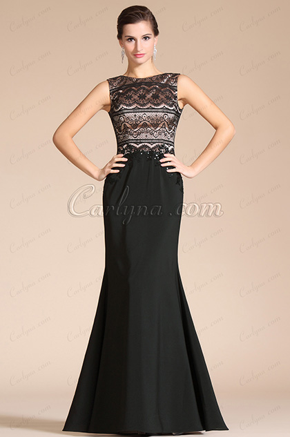 Fashion Black Sleeveless Overlace Evening Dress Prom Gown (C00141900)