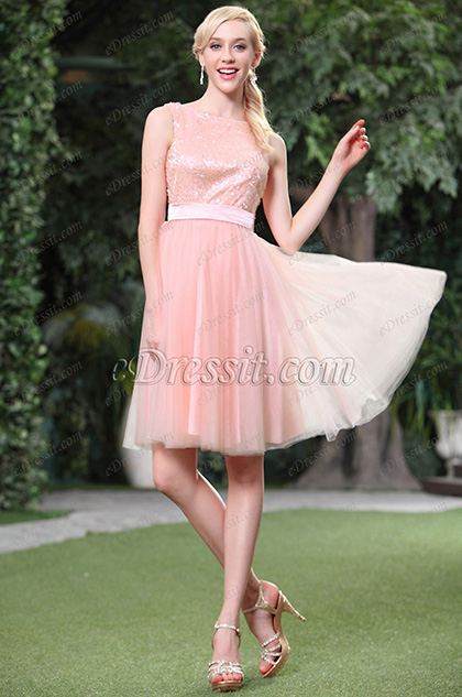Robe de cocktail 3 trous rose en paillettes sans manche (04134401)