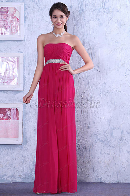 Strapless A-line Ruched Bodice Sparkling Chain Evening Dress Bridesmaid Dress (C36145812)