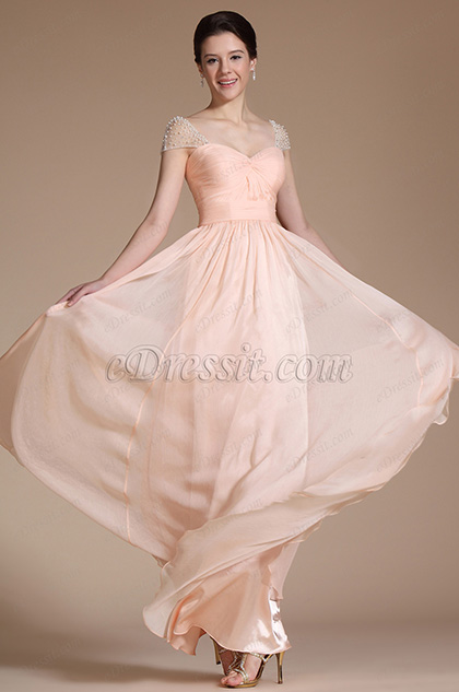 Cap Sleeves A-line Peach Evening Dress Formal Gown (C00142101)