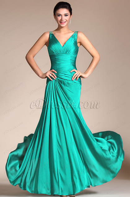 Turquoise Sexy V-cut Transparent Back Evening Dress (C00140411)