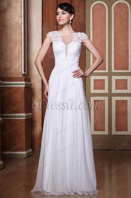 Замечательное с Бисерами Шапочный Рукав V Спина  Вечернее Платье Свадебное Платье (C36143907)