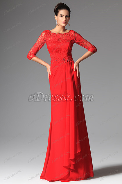 eDressit Red Overlace Sleeves Mother of the Bride Dress (26147902)