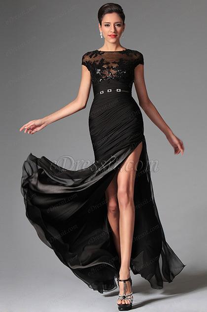 eDressit Black Sexy Cap-sleeves Evening Dress Prom Dress (02146800)