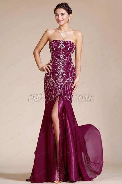 Strapless High Split Beading Formal Evening Gown Bridesmaid Dress(C36140317)