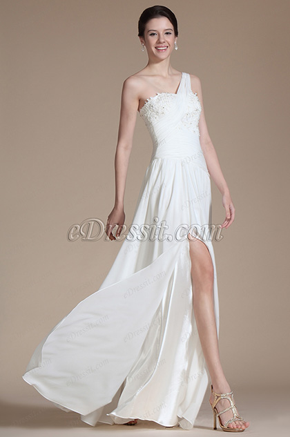 One Shoulder Lace Decoration Wedding Dress (C01140207)