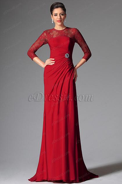 eDressit Red Round Neckline Mother of the Bride Dress (26148102)