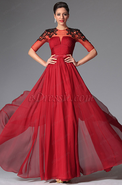 eDressit Dark Red Sleeves Long Evening Dress (02148802)