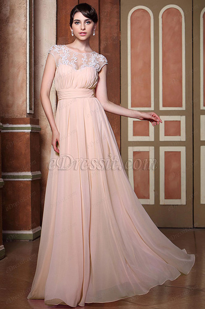 Top Floral Lace A-line New Pink Bateau Neckline Bridesmaid Dress (C00140101)