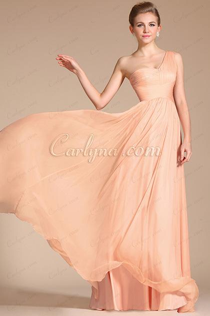 2014 Novedad Súper Fabuloso Un hombro Rosada Vestido de la noche  Dama de honor(C00120601)