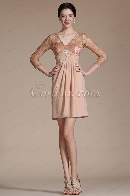 Overlace Sleeves Mother of the Bride Dress (C26140646)