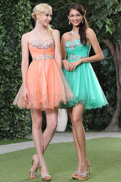 New Orange Strapless Sweetheart Cocktail Dress(C35143310)