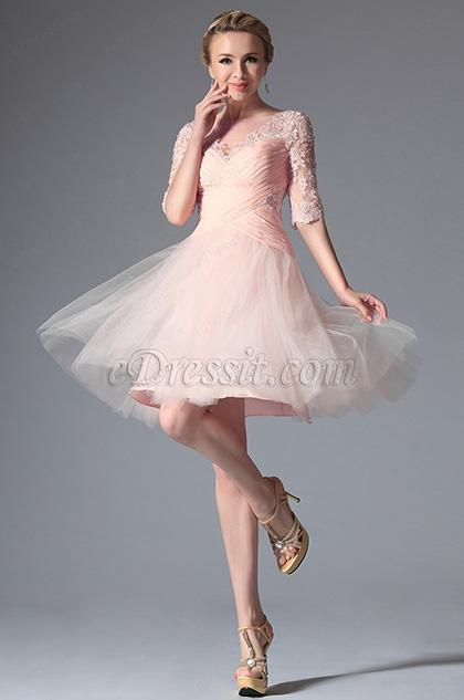 Edressit Pink Stylish Design Cocktail Dress Party Dress
