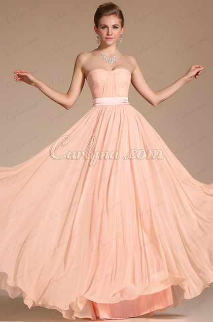 Simple Elegant Light Pink Strapless Evening Dress Bridesmaid Dress (C00117301)