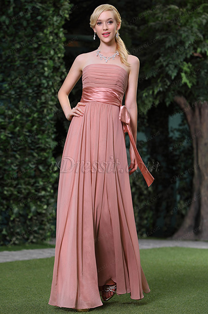 New Simple Pleated Strapless Evening Dress / Bridesmaid Dress
