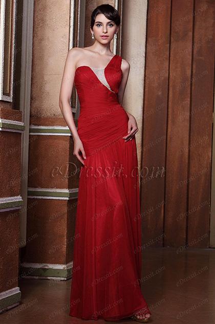 Elegante Rojo Solo Hombro de Pliegue Vestido de Fiesta Largo Vestido para Dama de Honor(C00142602)