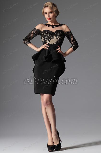 eDressit 2014 Новое Модное Чёрное Платье для Матери Невесты с Круглым Декольте(26147400)