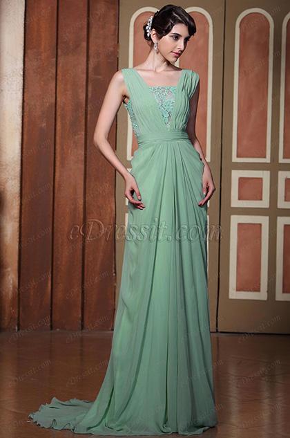 Elegante Vestido de Fiesta Largo Verde Abierta Espalda Vestido de Noche(C02131704)