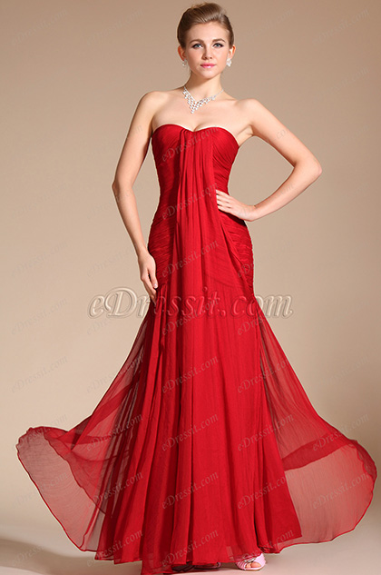 Graceful Red Strapless Evening Dress Prom Gown (C00094702)