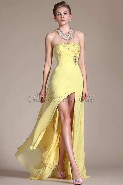 Yellow Sweetheart High Split Chiffon Graduation Dress/Evening Dress (C36141003)