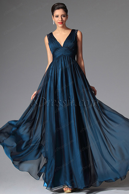 eDressit Deep Blue Sexy V-neck Evening Dress Prom Gown (02149405)