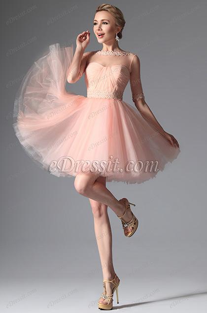 eDressit 2014 Novedad Rosado Elegante con Mangas Vestido de Cóctel (04146401)