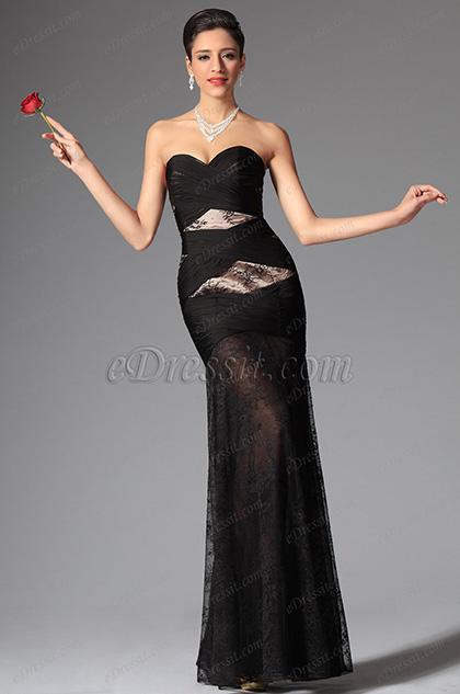 Negro Vestido de Baile Largo Escote de Crazón Sin Tirante Ajustado (02148000)