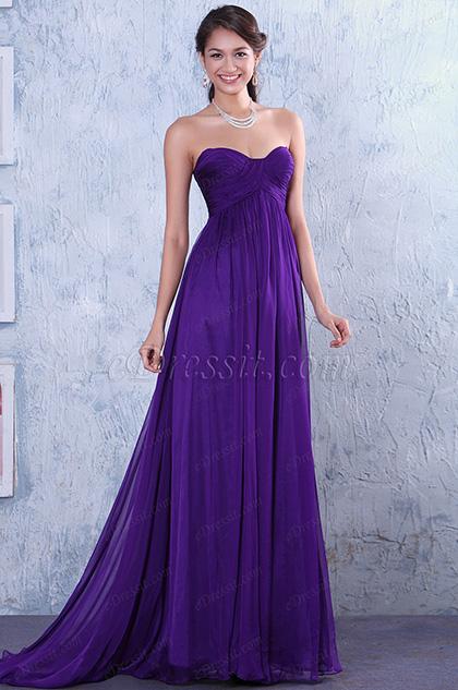 Robe de soirée violette froncée sans manche décolleté coeur  (C00117906)