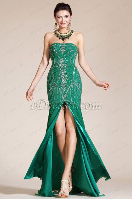 Green Strapless High Slit Evening Dress/Bridesmaid Dress (C36140304)