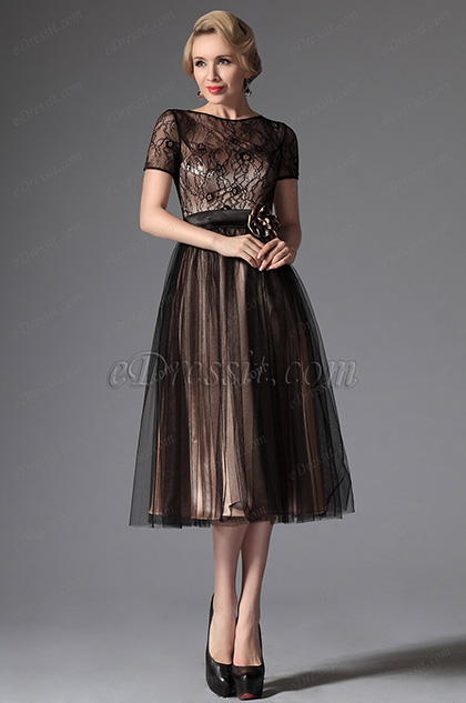 eDressit Black Overlace Tea Length Formal Dress (04145300)